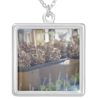 Carmel apples, Pioneer Square, Seattle, Square Pendant Necklace