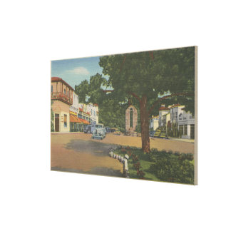 Carmel, CA - Business District View of Downtown Canvas Print