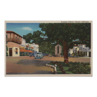 Carmel, CA - Street Scene with Trees and Shops Poster