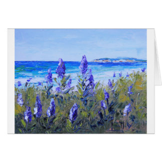 Carmel California, Beach, Lupins, Landscape Art Greeting Card