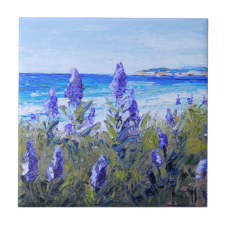 Carmel California, Beach, Lupins, Landscape Art Tile
