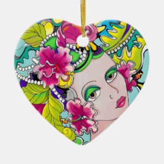 Carmen Mardi Gras Girl Ceramic Heart Decoration