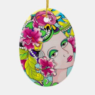 Carmen Mardi Gras Girl Ceramic Oval Decoration
