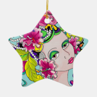 Carmen Mardi Gras Girl Ceramic Star Decoration