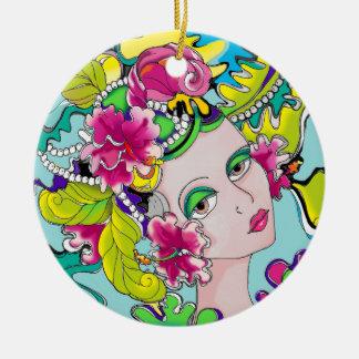 Carmen Mardi Gras Girl Round Ceramic Decoration