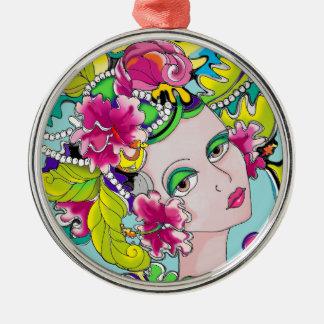 Carmen Mardi Gras Girl Silver-Colored Round Decoration