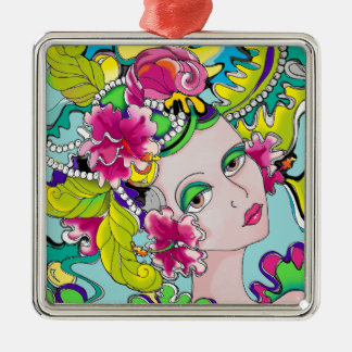 Carmen Mardi Gras Girl Silver-Colored Square Decoration
