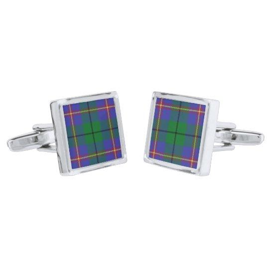Carmichael Clan Tartan Plaid Silver Finish Cuff Links