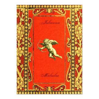 Carmine and Gold Cupid Card