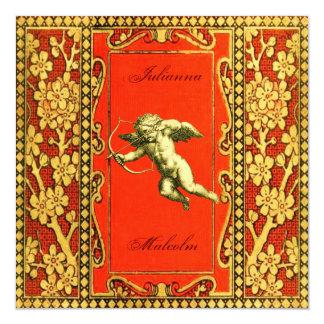 Carmine and Gold Cupid R.S.V.P. Card