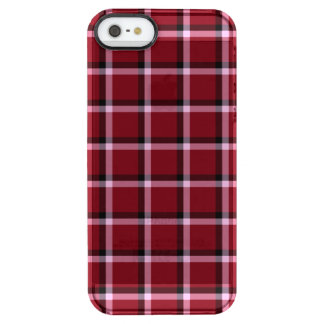 Carmine Red Check Pattern Clear iPhone SE/5/5s Case