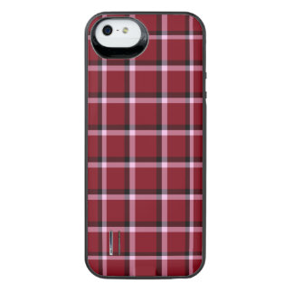 Carmine Red Check Pattern iPhone SE/5/5s Battery Case