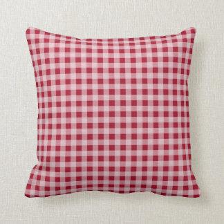 Carmine Red Gingham; Checkered Cushion