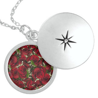 Carmine Roses Locket Necklace