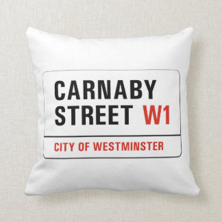 Carnaby Street, London Street Sign Throw Cushions