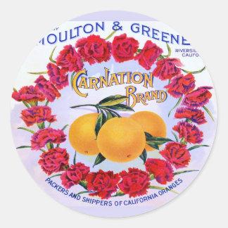 Carnation Brand Oranges ~ Vintage Fruit Crate Round Sticker
