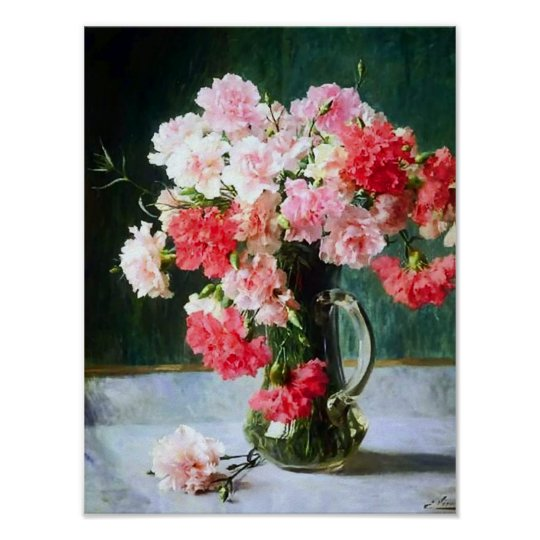 Carnation Flowers in a Vase by Emile Vernon