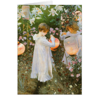 Carnation, Lily, Lily, Rose By John Singer Sargent Greeting Card