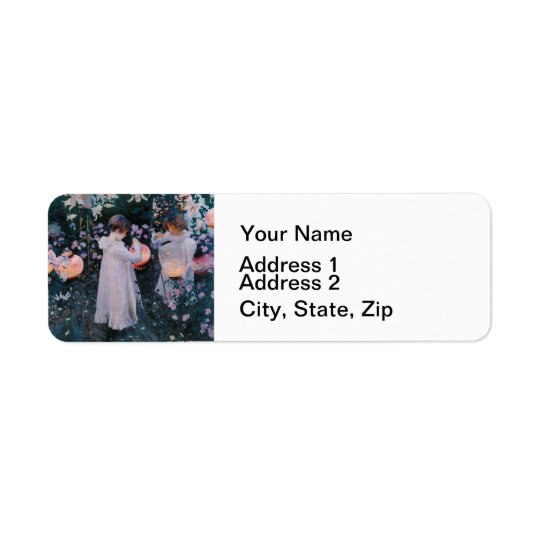 Carnation, Lily, Lily, Rose by John Singer Sargent Return Address Label