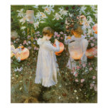 Carnation, Lily, Lily, Rose, Sargent Victorian Art Poster