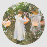 Carnation, Lily, Lily, Rose, Sargent Victorian Art Round Sticker