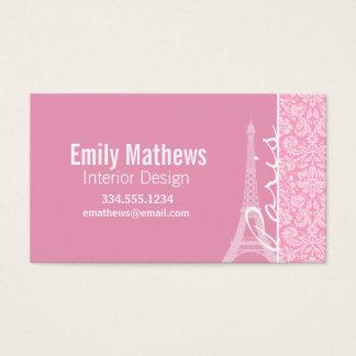 Carnation Pink Damask Pattern Business Card