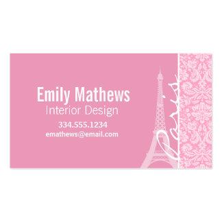 Carnation Pink Damask Pattern Business Card Template