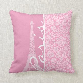 Carnation Pink Damask Pattern Cushion