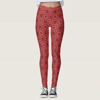 Carnation Pink Firework Tiles Leggings