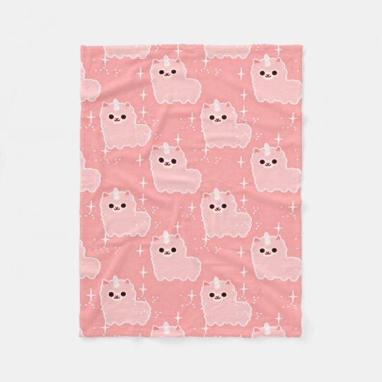 Carnation Pink Fluffy Unicorn Sparkles Fleece Blanket