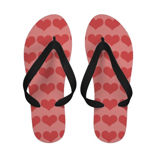 Carnation Pink Hearts Flip Flops