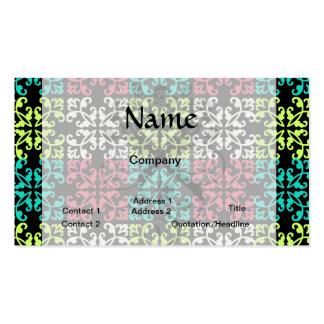 carnation pink lime aqua sweet damask squares pack of standard business cards