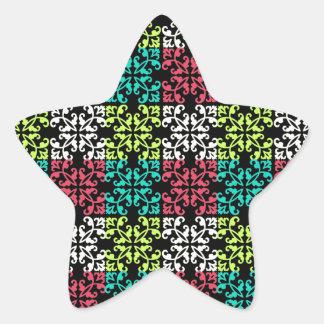 carnation pink lime aqua sweet damask squares star sticker