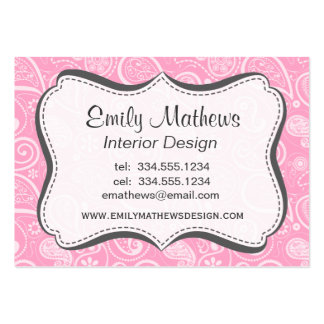 Carnation Pink Paisley Floral Business Card