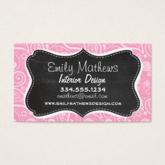 Carnation Pink Paisley; Vintage Chalkboard look Business Card