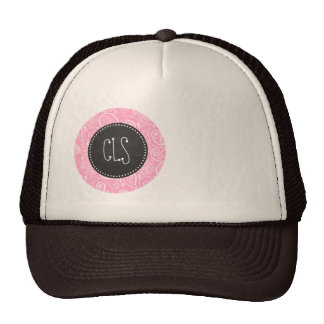 Carnation Pink Paisley; Vintage Chalkboard look Hats