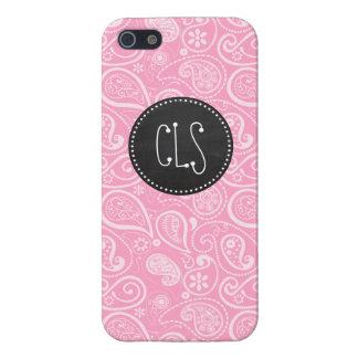 Carnation Pink Paisley; Vintage Chalkboard look iPhone 5/5S Case