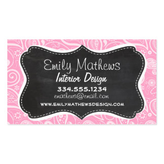 Carnation Pink Paisley; Vintage Chalkboard look Pack Of Standard Business Cards
