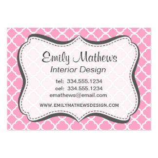 Carnation Pink Quatrefoil Business Card Templates