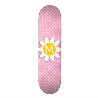 Carnation Pink Quatrefoil; Daisy Skate Board