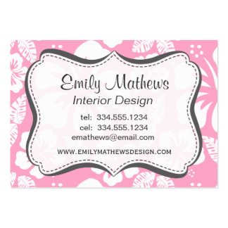 Carnation Pink Tropical Hibiscus Business Card Templates