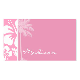 Carnation Pink Tropical Hibiscus Summer Palm Business Card Template
