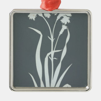 Carnation Silver-Colored Square Decoration