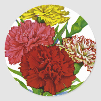 Carnation Vintage Seed Packet Round Sticker