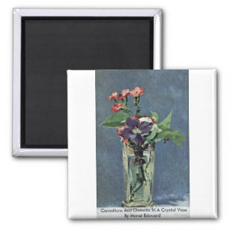 Carnations And Clematis In A Crystal Vase Square Magnet