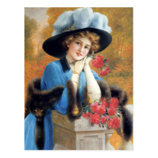 Carnations Are For Love in detail Émile Vernon Postcard