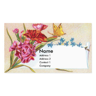 Carnations & Butterfly Victorian Trade Card Pack Of Standard Business Cards