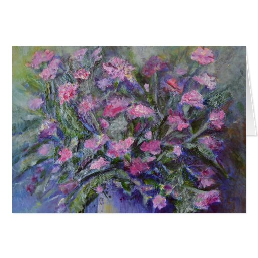 """""""Carnations"""" Floral Art Note Card"""