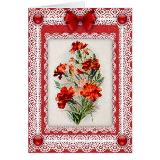 Carnations 'n Lace Greetings Card