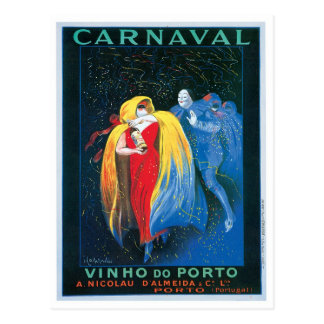 Carnaval Vinho Do Porto Vintage Wine Ad Art Postcard